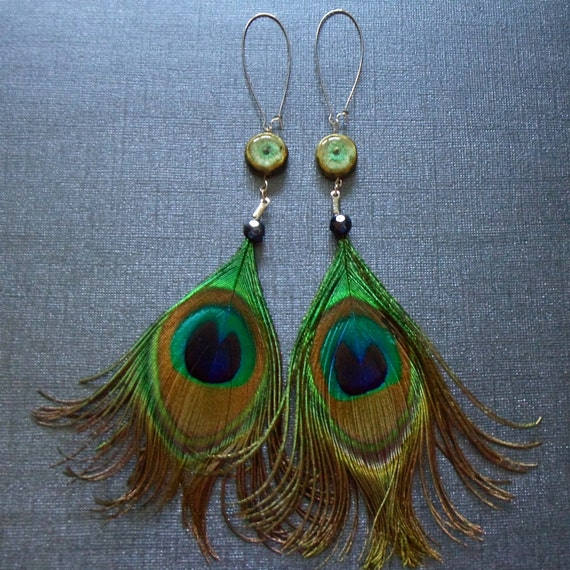 Curled Peacock Feather Earrings Polymer Clay Fairy Eyes Unique Fashion Jewelry Blue Green Gold