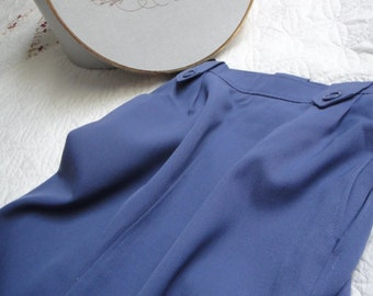 1970's Vintage Yves Saint Laurent Dull Blue Military Style Skirt Wool Skirt Slits OKC