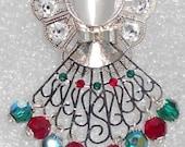 """Angel Pin / Brooch - Holly"""" - Emerald Green & Siam Red Swarovski Crystals, Clear Rhinestones, Christmas Angel"""