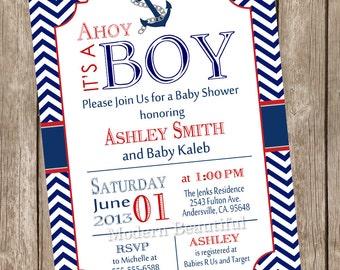 Chevron Ahoy it's a boy baby shower invitation, red, navy, anchor, nautical, printable invitation - nautical1