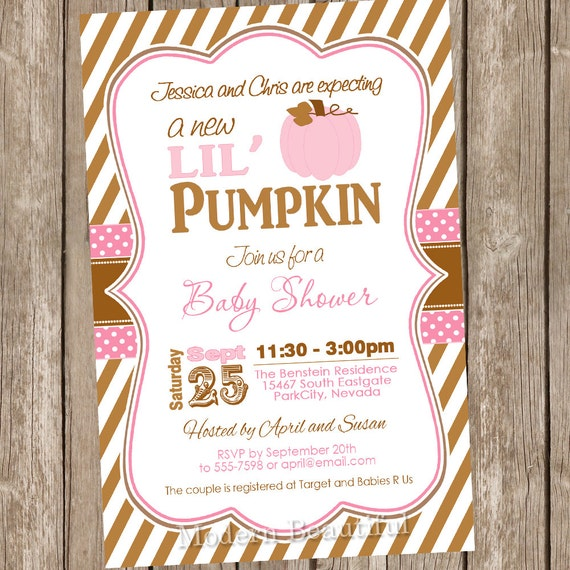 baby shower invitation brown pink autumn baby shower invitation
