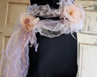 scarf  and belt form a single accessory handmade peach