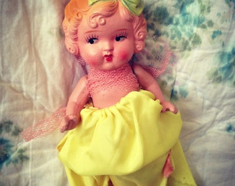1930's Bisque Flapper Doll-Yellow Dress