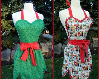 Christmas Apron - Fully Reversible 50's Style with Ric Rac