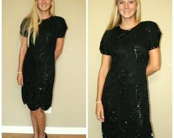 SALE Vtg 80's 20's Black Gatsby Art Deco Beaded Silk Swee Lo Designer  Lillie Rubin Dress sz S