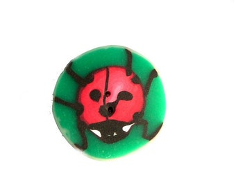"Ladybug button, handmade in polymer clay -  one button diameter 3 cm =  1""2/16 -  Bouton coccinelle - child children cloth accessory"