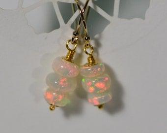 Ethiopian Opal Earrings 14K Gold Filled Dangle Earrings, Wedding Earrings, Gold Jewelry, Gold Dangle Earrings