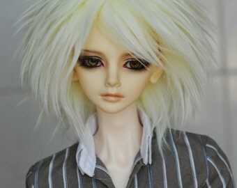Light Yellow Spike Fake Fur Wig for Volks BJD SD MSD and Other Size Dolls