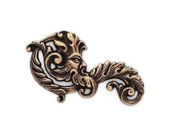 Green Man Fancy Leaf Scroll Filigree Ox Brass Stamping Father Time 55mm x 30 mm- Qty 1 Left Made in the USA