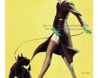 Pinup Girl Print - Woman Walking Scotty Dog - Slightly Risque Elvgren Repro