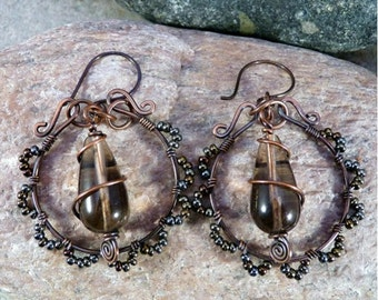 Smokey Quartz and Copper Wire Wrapped Hoop Earrings. Fall Colors.  Handmade.