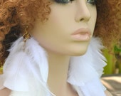 Long White Feather Earings