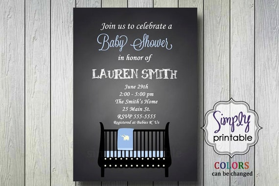 Baby Shower Invite with Crib Blue / Pink