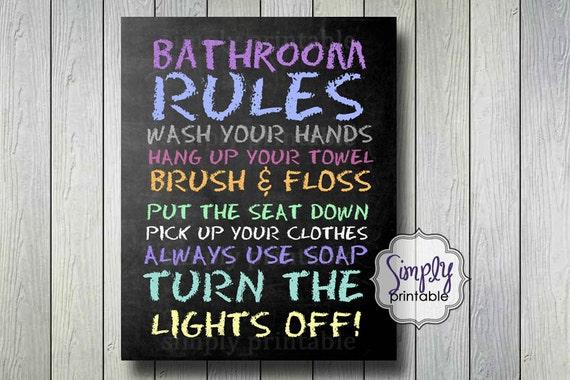 Printable 8x10 Bathroom Rules Print