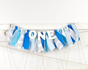 Blue, White and Gray Chevron Boy's Birthday Party - Boy's First Birthday - Garland - Bunting - Photoshoot Prop