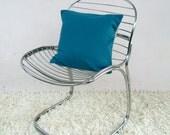 Teal pillow: deep teal throw pillow in luxury Italian wool, modern decorative pillow cover
