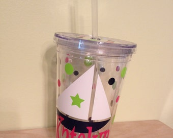 Vacation, sailboat, Personalized w/name acrylic tumbler, polka dots, Available in skinny, standard, sport bottle, mason, kiddie cup & XL cup