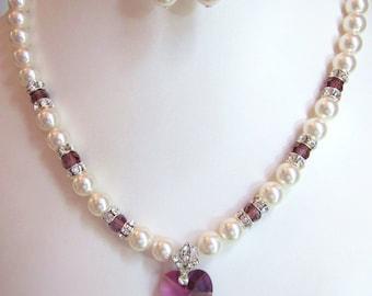 Amethyst Swarovski Crystal and White Pearl Necklace - White Swarovski Pearls and Amethyst Crystal Heart - Weddings, Brides, Bridesmaids