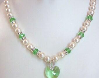 Peridot Swarovski Pearl and Crystal Necklace - White Swarovski Pearls and Peridot Crystal Heart - Weddings, Brides, Bridesmaids
