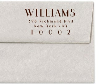 Personalized Address Stamp, Custom Return Address Stamp, Art Deco Stamp, Wedding Address Stamp, Simple, Hollywood, Self Inker, Wood Mounted