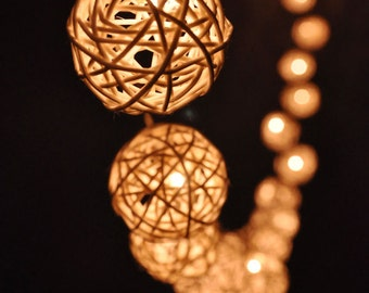 20 bulbs handmade fairy lights classic white rattan ball string lights for patiowedding - Decorative String Lights