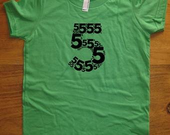 Birthday Shirt - 5 year old shirt - 5th Birthday - Number Shirt - Birthday Boy, Birthday Girl - Party - Kids Tshirt Size 6 - Gift Friendly