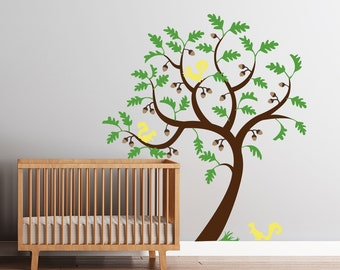 Nursery Tree Wall Decals - Squirrels and Acorns, Oak Baby Tree Decal - Baby Room Tree