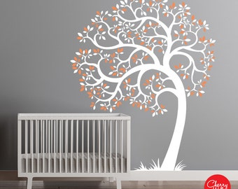 Baby Nursery Wall Decor - Nursery Tree Wall Decal - Modern Tree Decal Kids room Mural Sticker