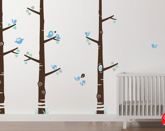 Modern Nursery Tree Decals - Birch trees - Woodland creatures - Owls, birdies and a squirrel removable stickers