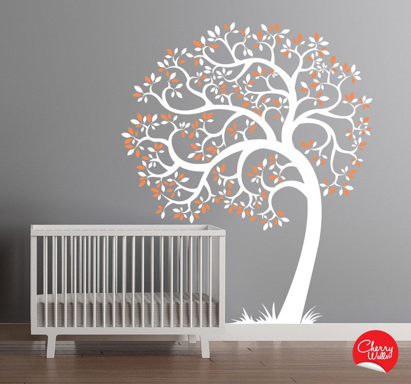 Tree wall murals for nursery the image for Baby nursery tree mural