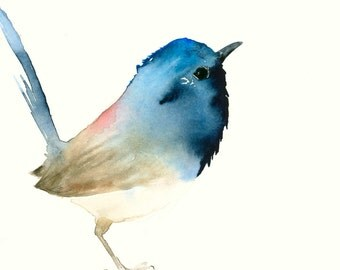 Art Bird Print from Original Watercolor Dark Blue Tiny Bird