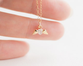 Tiny Angel Heart Necklace . cubic zirconia heart with angel wings . dainty jewelry