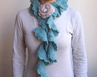 Mohair Scarf long crochet ruffles sage green tan flower women teen girl