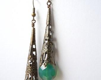Sea Green Art Nouveau Brass Filigree Dangling Victorian Steampunk Statement Ocean Earrings
