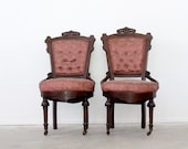 Antique Renaissance Revival Chairs / 1800s Dining Chairs
