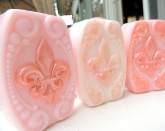 FLEUR DE LIS Soap -  Flower Soap, Colored Pretty Pink, Scented in Sweet Pea, Novelty Soaps, Hostess Soaps, Handmade Vegetable Based