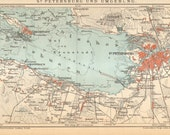 1904 Map of the Gulf of Finland, St. Petersburg and its Surroundings