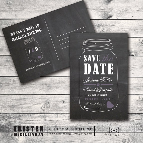 Items similar to chalkboard mason jar save the date for Electronic save the date templates