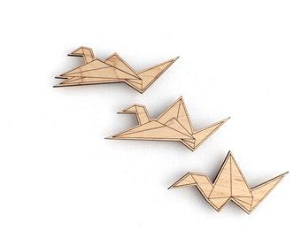 Origami Crane Magnets East Version - Laser Cut Wooden Japanese Modern Minimal Origami Crane Decor