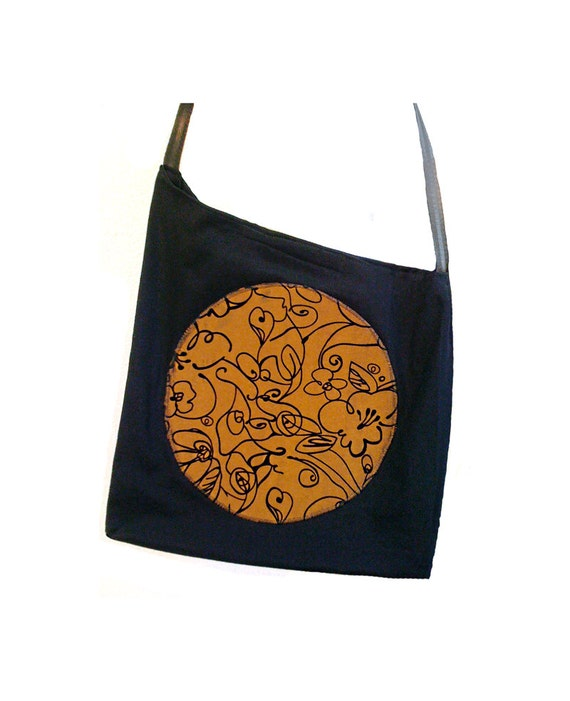 Full Moon cross body tote bag black and copper