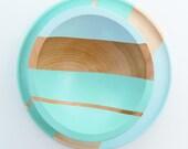 "Modern Pastel Hardwood 7"" Bowl, Ocean/Sky"