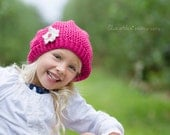 Slouchy Hat Pink Wool, Textured Knit Beanie with Cream Flower and Button Center, Child Size (Item 948) - ThatsTheCutestThing