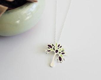 Sterling silver Pendant  -Purple green enamel silver pendant