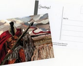"SET OF 3 POSTCARDS: Collage Art Print ""This is Sparta"" by Pearljammies Warrior Series"
