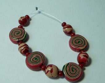 Hand Crafted Polymer Beads Jewelry Supplies, Polymer Beads in Cranberry Red, Tan and Green