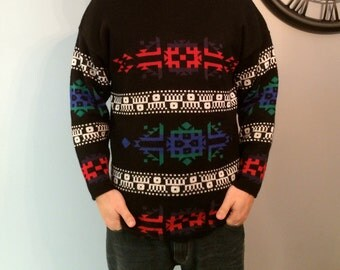 1970s Mens Southwestern Ethnic Tribal Hipster Geometric Abstract Colorful Sweater