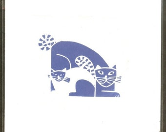 Hand Printed Lino Print Card - Blue Cats - Contemporary Original Linocut Print For Cat Lovers