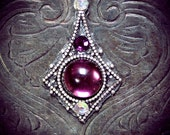 Purple Gem Bindi, fairy, wicca, bellydance, third eye, tribal fusion, gypsy, violet, bollywood, fantasy, facial jewelry. goddess, silver