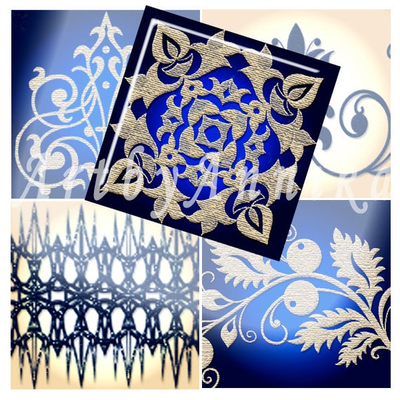 Digital Collage of blue-gold patterns and flowers - 48 1x1 Inch  Square JPG images - Digital Collage Sheet