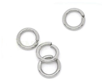 5mm Jump Rings : 100 Antique Silver Open Jump Rings 5mm x .8mm (20 Gauge) -- Lead, Nickel, & Cadmium free Jewelry Findings 5/.8